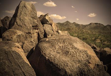 tuscon: petroglyphs on a rock in arizona Stock Photo