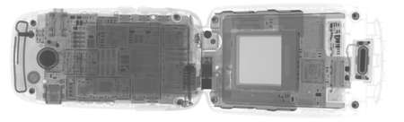 X-RAY IMAGE OF T-MOBILE CELL PHONE 版權商用圖片