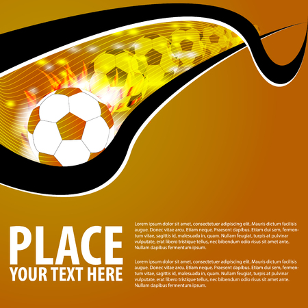 soccer, football orange background Vector