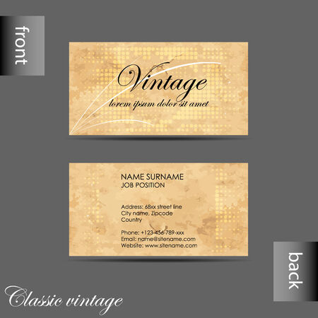 Vector old style retro vintage business card with front and back vector vector old style retro vintage business card with front and back side reheart Gallery