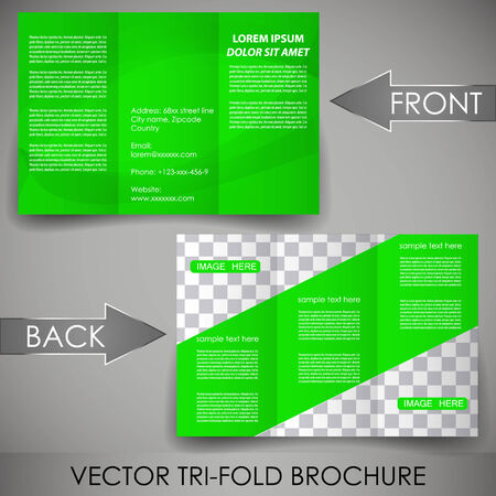 Business three fold flyer template, corporate brochure or cover design Vector