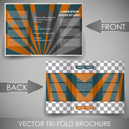 Business three fold flyer template or corporate brochure Vector