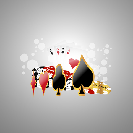 Poker background with game elements Vector