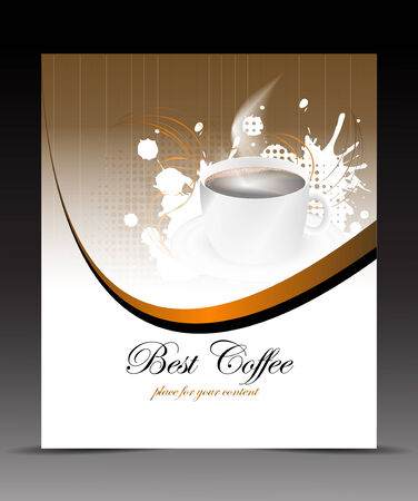 Template flyer with cup of coffee on the abstract background Vector