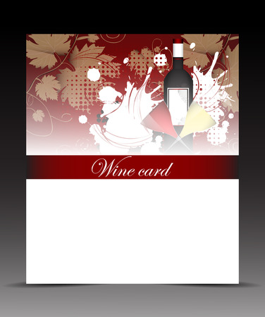 Template flyer for wine card with glasses and bottles Vector