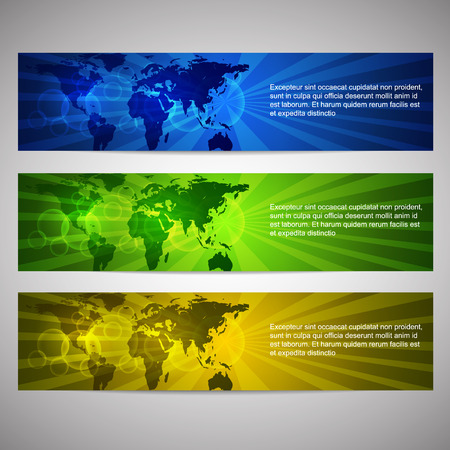 Simple horizontal web headers or banners with world map Illustration
