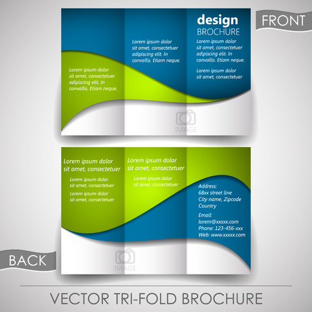 Business tri-fold flyer template or corporate brochure, cover design Vectores