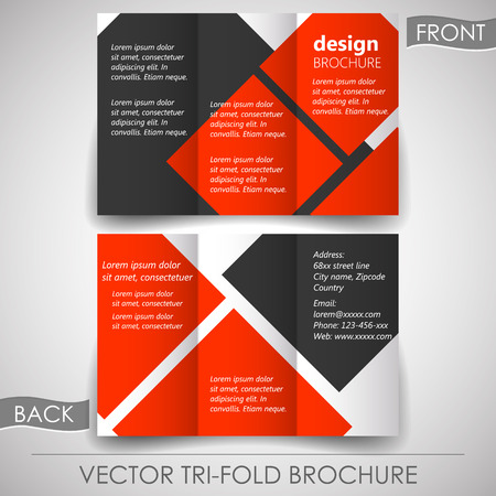 tri fold: Business tri-fold flyer template or corporate brochure, cover design Illustration