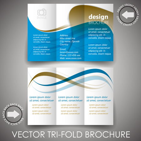 Business tri-fold flyer template or corporate brochure, cover design Vector