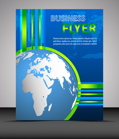 Business flyer template with globe, cover design Vector