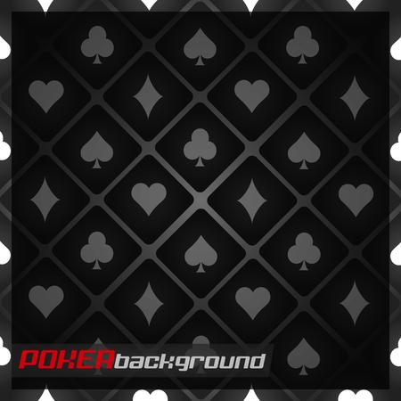 Dark background with poker cards symbols Ilustração