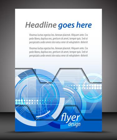Business A4 booklet cover with technological pattern Ilustração