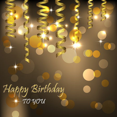 Happy birthday background with gold spiral ribbon