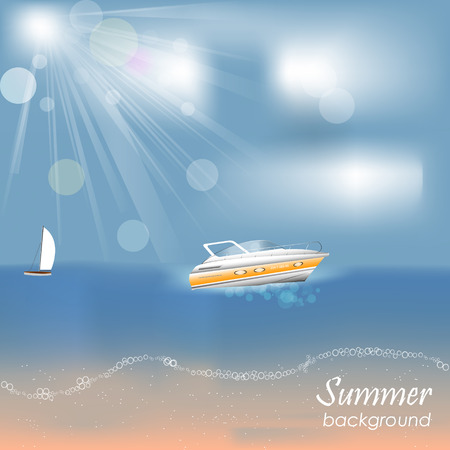 motorboat: Summer background with motorboat and yach on the sea, beach