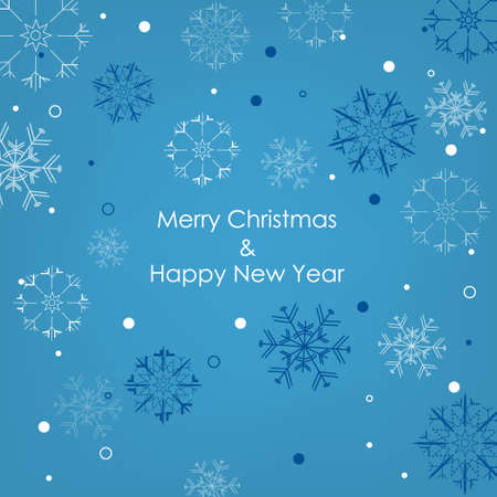 Christmas card with snowflakes on a blue background Vector