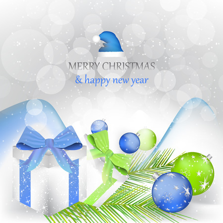 december background: Christmas background, greeting card with decoration