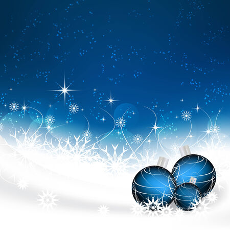 Christmas background with christmas balls, snowflakes and stars Illustration
