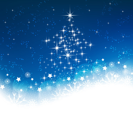 Christmas greeting card on a blue background with snowflakes and decoration, vector illustration