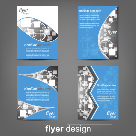 design elements: Set of business flyer template, corporate banner, cover design or brochure. Design with place for your content or creative editing Illustration