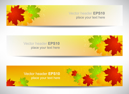 Web header or banner with colored leaves, autumn theme