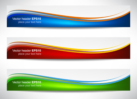 Web header, set of vector banners with precise dimension Illustration