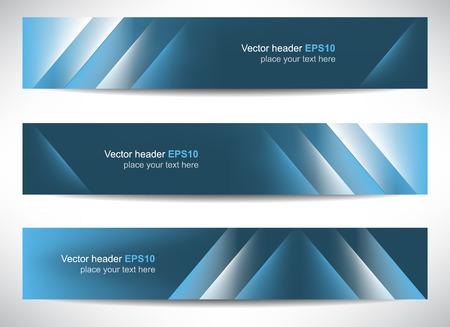 Web header, set of vector banners with precise dimension Stock Illustratie