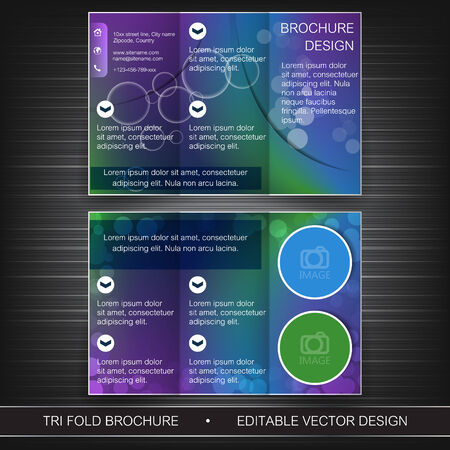 Business tri-fold flyer template, brochure or cover design Vector