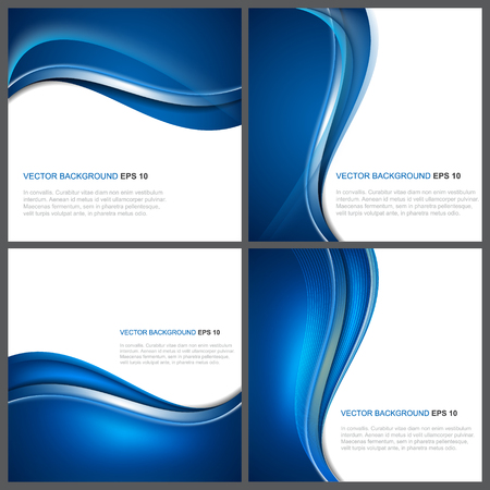 Set of abstract blue vector background with wave and shiny effect