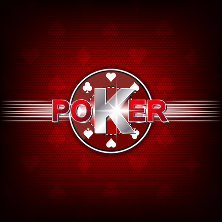 poker chip: Poker illustration on a red background with card symbol and chip