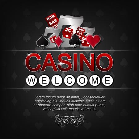 fond sombre: Casino illustration vectorielle pour l'affiche sur un fond sombre