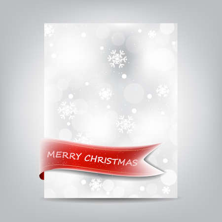 paper banner: Christmas background template, paper banner with red ribbon and snowflake Illustration