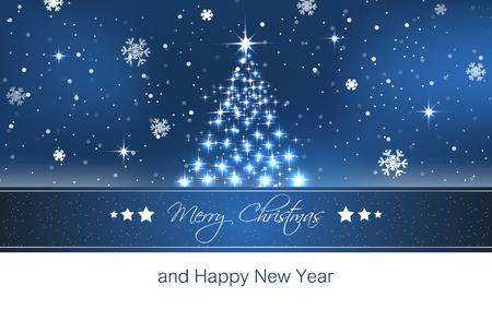 feliz: Papel pintado del árbol de Navidad, vector de fondo para la tarjeta de felicitación y felices fiestas, ilustración vectorial con estrellas, copos de nieve y el cielo azul