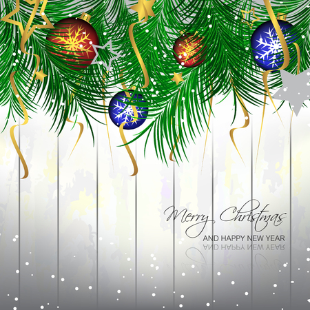 pine needles: Christmas background with bauble, pine needles and wooden texture for greeting card and happy holiday, vector illustration