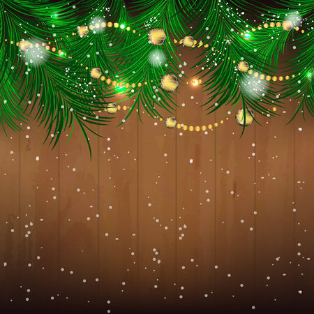 pine needles: Christmas background with pine needles, bauble and glitter for greeting card, vector illustration Illustration