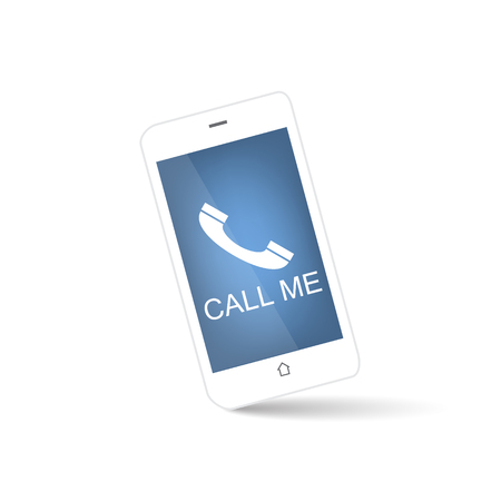 call me: White smart phone with call me symbol on a blue background