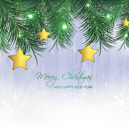 pine needles: Christmas background with gold stars, pine needles and snowflakes for your greeting card, vector illustration