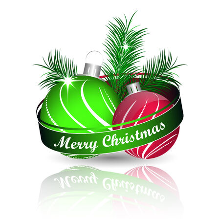 pine needles: Christmas background with colored christmas ball and green pine needles for greeting card, vector illustration