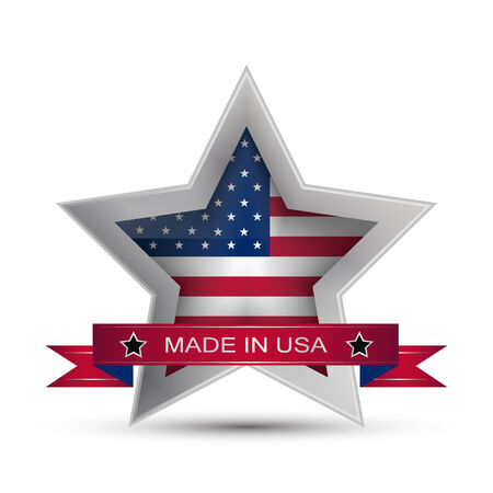Made in the USA icon or button, stamp badge American buy, vector illustration Illustration
