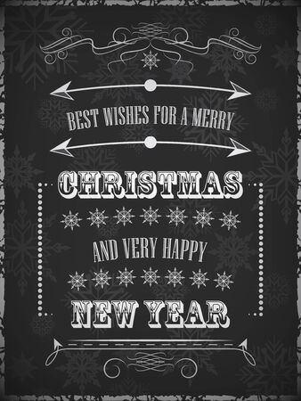 A poster with christmas wishes. Design for greeting card. Illustration