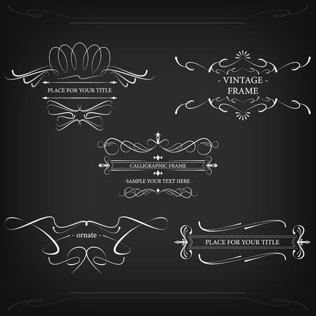 decorative lines: Marcos adornados con l�neas decorativas y elementos retro, dise�o del vector de la vendimia. Vectores