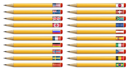 Twenty pencils with flags of the world, vector illustration Vector