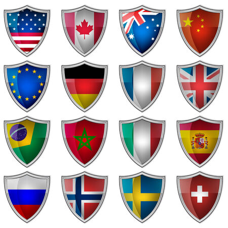 Set of glossy badges or labels with flags popular countries Vector
