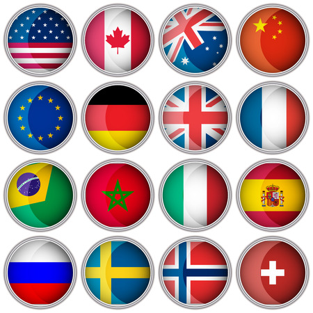 Set of glossy buttons or icons with flags popular countries Vector