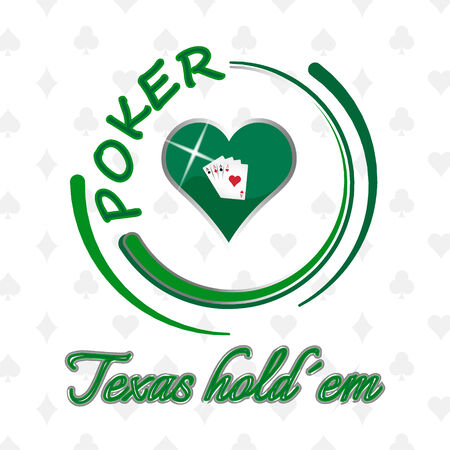 hold em: Poker background with heart symbol and playing cards