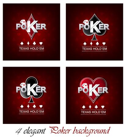 hold em: Set of poker vector background with card symbol