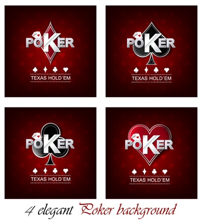 Set of poker vector background with card symbol