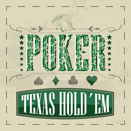 Texas holdem poker retro background for vintage design Ilustração