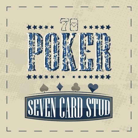 poker card: Seven card stud poker game retro background for vintage design