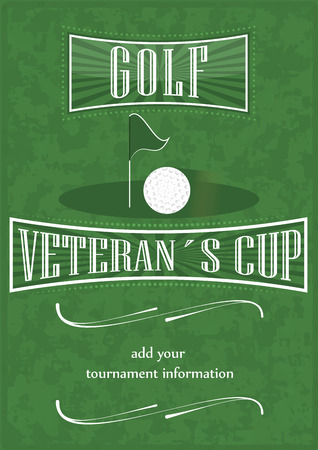 bogey: Veterans cup golf poster with golf ball and flag, vector illustration Illustration