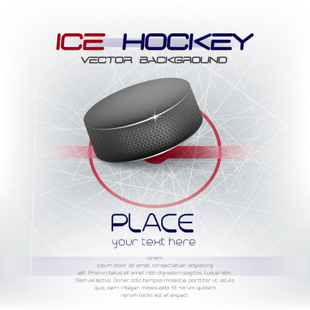 Ice hockey background with puck and place for your content, vector illustration Vectores